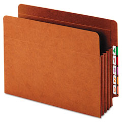 Globe-Weis 63780 Heavy-Duty Expanding File Pocket, End Tab, 3 1/2 Inch, Letter, Brown, 10/Box