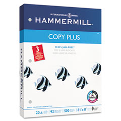 Hammermill - copy plus copy paper, 3-hole punch, 92 brightness, 20lb, ltr, white, 500 shts/rm, sold as 1 rm