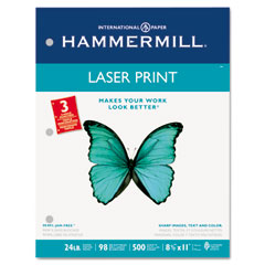 Hammermill - laser print office paper, 3-hole punch, 98 brightness, 24lb, ltr, white, 500/rm, sold as 1 rm