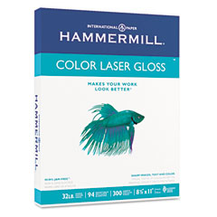 Hammermill - color laser gloss paper, 94 brightness, 32lb, 8-1/2 x 11, white, 300 sheets/pack, sold as 1 pk
