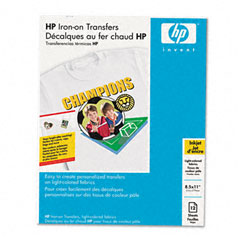 Hp C6049A Iron-On Transfers, 8-1/2 X 11, White, 12/Pack