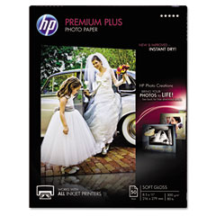 Hp - premium plus photo paper, 80 lbs., soft-gloss, 8-1/2 x 11, 50 sheets/pack, sold as 1 pk