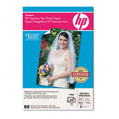 Hewlett-Packard HEWQ1978A Premium Plus Photo Paper, 75 lbs., High-Gloss, 4 x 6, 60 Sheets/Pack