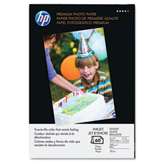 Hp Q1989A Premium Photo Paper, 64 Lbs., Glossy, 4 X 6, 60 Sheets/Pack