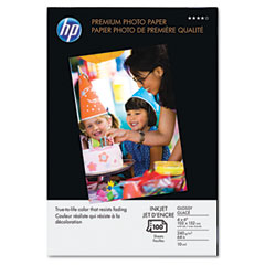 Hp Q1990A Premium Photo Paper, 64 Lbs., Glossy, 4 X 6, 100 Sheets/Pack
