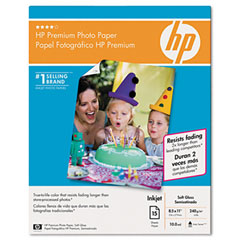 Hp Q1993A Premium Photo Paper, 64 Lbs., Soft-Gloss, 8-1/2 X 11, 15 Sheets/Pack