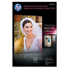 Hewlett-Packard HEWQ2502A Premium Plus Photo Paper, 75 lbs., High-Gloss, 4 x 6, 60 Sheets/Pack