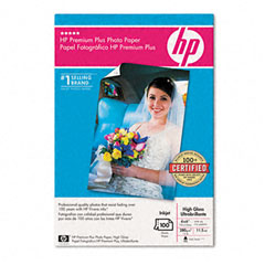 Hewlett-Packard HEWQ5431A Premium Plus Photo Paper, 75 lbs., High-Gloss, 4 x 6, 100 Sheets/Pack
