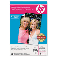 Hewlett-Packard HEWQ6564A Premium Plus Photo Paper, 75 lbs., Soft-Gloss, 4 x 6, 100 Sheets/Pack