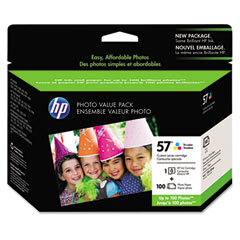 57 Series Ink Cartridge Photo Value Pack w/100 Glossy 4 x 6 Sheets