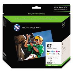 Custom 02 Value Pack of Six Cartridges, 4 x 6 Advanced Photo Paper, 150 Sheets