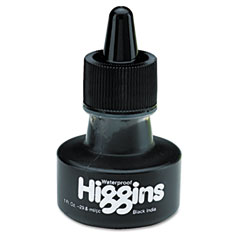 Higgins - higgins waterproof india ink for art/technical pens, black, 1 oz bottle, sold as 1 ea