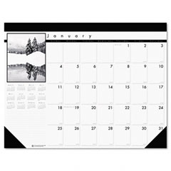 House Of Doolittle 122 Black-And-White Photo Monthly Desk Pad Calendar, 22 X 17, 2011-2012
