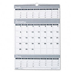 House of doolittle - bar harbor wirebound three-months-per-page wall calendar, 12 x 17, sold as 1 ea