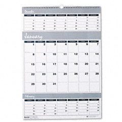 House of doolittle - bar harbor wirebound three-months-per-page wall calendar, 15-1/2 x 22, sold as 1 ea