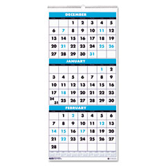 House of doolittle - three-month format wall calendar, 12-1/4 x 27, sold as 1 ea