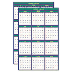 House of doolittle - four seasons reversible business/academic year paper wall calendar, 24 x 37, sold as 1 ea