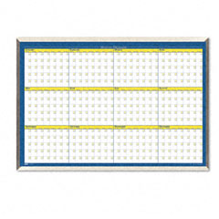 House Of Doolittle HOD6652 12-Month Planner, Laminated, 32 x 21 1/2, Blue/White/Yellow/Silver