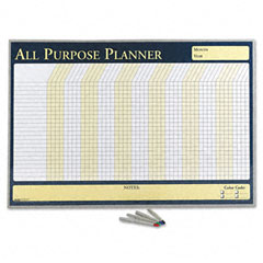 House Of Doolittle 6659 Wall Planner, Laminated, 32 X 21 1/2, Blue/White/Yellow, Aluminum Frame