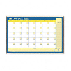 House Of Doolittle 6661 30-Day Wall Planner, Laminated, 40 X 26, Blue/White/Yellow/Silver