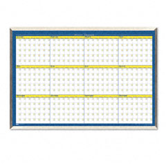 House Of Doolittle HOD6662 12-Month Planner, Laminated, 40 x 26, Blue/White/Yellow/Silver
