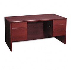 Hon - 10500 series 3/4-height double pedestal desk, 60w x 30d x 29-1/2h, mahogany, sold as 1 ea