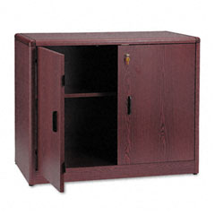 Hon - 10700 series locking storage cabinet, 36w x 20d x 29-1/2h, mahogany, sold as 1 ea