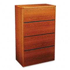 HON 107699J 10700 Series Four-Drawer Lateral File, 36W X 20D X 59-1/8H, Henna Cherry