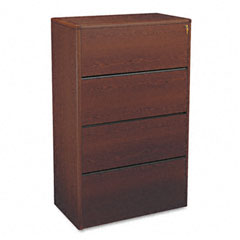 HON 107699N 10700 Series Four-Drawer Lateral File, 36W X 20D X 59-1/8H, Mahogany