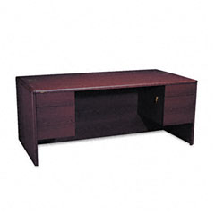 Hon - 10700 series desk, 3/4-height double pedestals, 72w x 36d x 29-1/2h, mahogany, sold as 1 ea