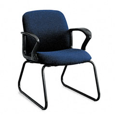 HON 2073BW90T Gamut Series Guest Chair, Black Loop Arms/Sled Base, Navy Blue Fabric
