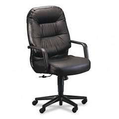 HON 2091SR11T Leather 2090 Pillow-Soft Series Executive High-Back Swivel/Tilt Chair, Black