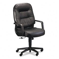 HON 2091SR11T Leather 2090 Pillow-Soft Series Executive High-Back Swivel/Tilt Chair, Black