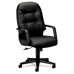 Hon - leather 2090 pillow-soft series executive high-back swivel/tilt chair, black, sold as 1 ea