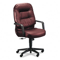 Hon - leather 2090 pillow-soft series executive high-back swivel/tilt chair, burgundy, sold as 1 ea