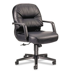 HON 2092SR11T Leather 2090 Pillow-Soft Series Managerial Mid-Back Swivel/Tilt Chair, Black