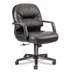 HON 2092SR11T Leather 2090 Pillow-Soft Series Managerial Mid-Back Swivel/Tilt Chair, Black