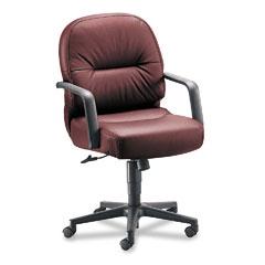 HON 2092SR69T Leather 2090 Pillow-Soft Series Managerial Mid-Back Swivel/Tilt Chair, Burgundy