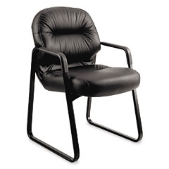 HON 2093SR11T Leather 2090 Pillow-Soft Series Guest Arm Chair, Black