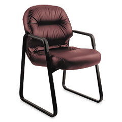 Hon - leather 2090 pillow-soft series guest arm chair, burgundy, sold as 1 ea