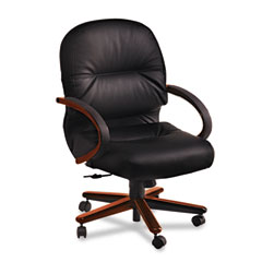 Hon - 2190 pillow-soft wood series mid-back chair, mahogany/black leather, sold as 1 ea