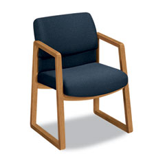 Hon - 2400 series guest arm chair, harvest finish, blue fabric, sold as 1 ea