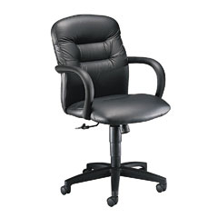 HON 3302SS11T Allure Managerial Mid-Back Swivel/Tilt Chair, Black Leather