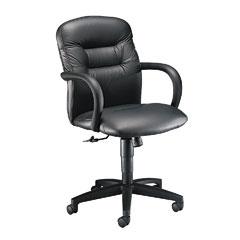 HON 3302SS11T Allure Managerial Mid-Back Swivel/Tilt Chair, Black Leather