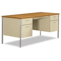 Hon - 34000 series double pedestal desk, 60w x 30d x 29-1/2h, harvest/putty, sold as 1 ea
