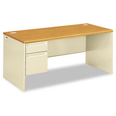 Hon - 38000 series left pedestal desk, 66w x 30d x 29-1/2h, harvest/putty, sold as 1 ea