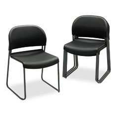 HON HON403110T Gueststacker Chair, Black with Black Finish Legs, 4/Carton