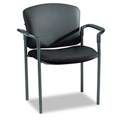 HON 4071EE11T Pagoda 4070 Series Stacking Arm Chairs, Black Vinyl, 2/Carton