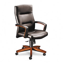 HON 5001JEE11 5000 Series Executive High-Back Swivel/Tilt Chair, Black Vinyl/Henna Cherry