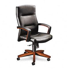 HON 5001JSS11 5000 Series Executive High-Back Swivel/Tilt Chair, Black Leather/Henna Cherry